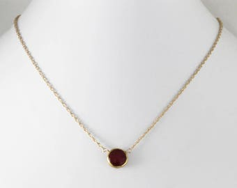 Red Ruby Necklace Adjustable Necklace 18k Gold Vermeil Genuine Ruby July Birthstone Precious Ruby Necklace Ruby Jewelry BZ-P-105.2-Ruby/g