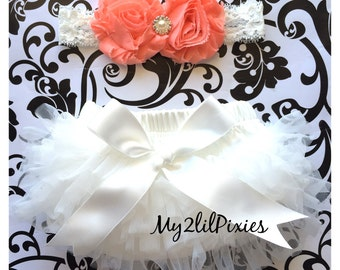 Baby Bloomer and Headband, Ruffle bum bloomer with satin bow, Shabby Flower headband, Lace headband,  Baby Girl Headband, Newborn bloomer