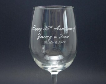Personalized Engraved Happy Anniversary Wine Glasses (Set of 2)