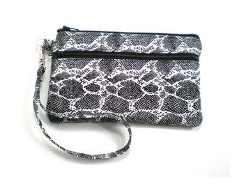 Smartphone iPhone Cell Phone Case, Double Pocket Wristlet, Detachable Strap, Black and White Snake Skin 5100