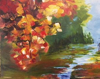 Set of 8 Art Cards - Autumn River Blank Note Cards