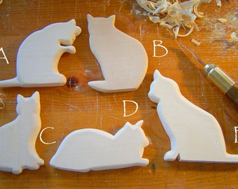 CHRISTMAS CAT Ornaments DIY Ornaments and Nursery Mobilesof Kitties -  HandCarved ready to paint your way and can be Christmas Ornaments