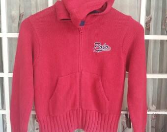 Rare polo ralph lauren Big P knitwear hooded spellout embroidery zipper/red/140 size/polo92/polorl/polo stadium/polo ski/polo climbing/polos