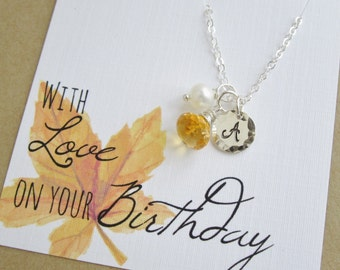 Personalized necklace November birthstone necklace Happy Birthday citrine necklace Custom initial Silver initial necklace Freshwater pearl