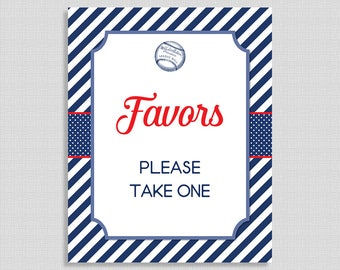 Baseball Favor Shower Sign, Favor Shower Table Sign, Red White Blue, Boy, INSTANT PRINTABLE