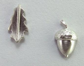 Silver Acorn and Oak Leaf Stud Earrings