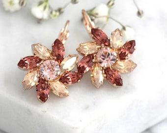 Blush Earrings, Bridal Blush Earrings, Swarovski Crystal Pink Earrings, Bridal Blush Drop Earrings, Bridesmaids Earrings,Morganite Earrings