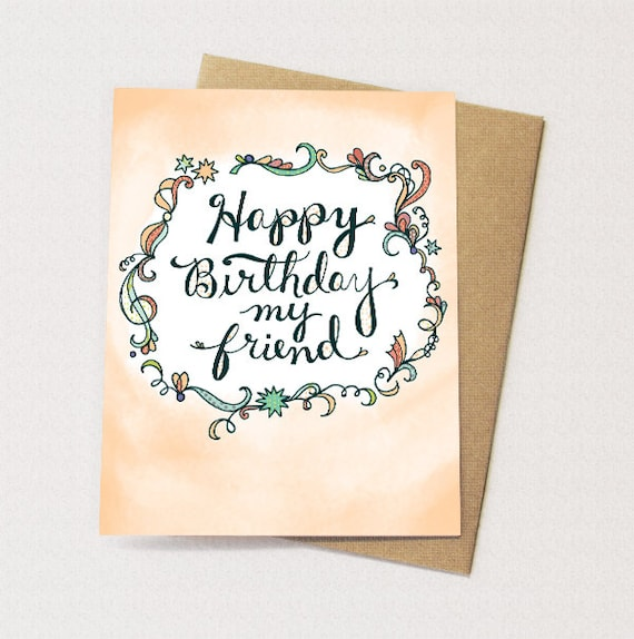 Happy birthday my friend card happy birthday friend hand like this item bookmarktalkfo Image collections