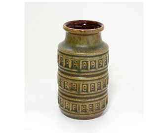 Vintage Scheurich Inka West German Pottery Green Vase - Mid Century Modern/Retro Decor