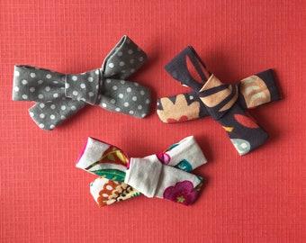 Set of Three Fabric Toddler to Kids Bows