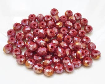 tiny new stock multifacetted garnet red rondelle iridescent shiny 6mm glass beads--matching lot of 75