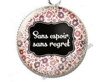 Pendant cabochon resin text hopeless, without regret