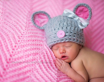 baby hat, mouse hat, baby mouse hat, baby shower gift, newborn mouse hat, crochet mouse hat, , girls hat, newborn hat, newborn girls hat