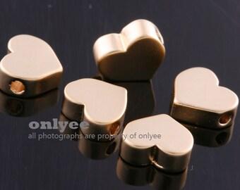 4pcs-7mm Matt Gold plated over Brass heart beads, love beads, heart spacers Charm/Connector(K586G)