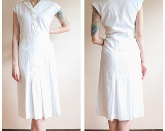 1930s Dress // White Deco Cotton Summer Dress // vintage 30s dress