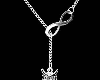 Mom Gift, Owl Necklace, Animal Necklace, Best Friend Gift, Sister Gift, Mother Gift Mama Bird Mother's Day Gift Infinity Lariat Necklace
