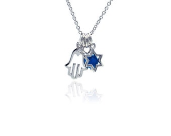 """16+2"""" Sterling Silver Hamsa and Star of David Charm Pendant Necklace(plstp00827)"""