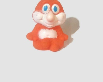 1970's Squeaky Rubber Toy, Gabriel CBS Toy, Retro Orange Monster Toy, Vintage Monster Toy, Retro Funky Squeak Squeeze Toy, Friendly Monster