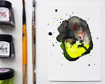 Neon Mist 1 - abstract mixed media artwork
