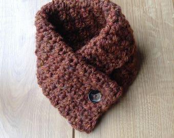 Chunky warm thick woollen neck warmer scarf ladies rust brown