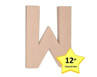 Paper Mache Cardboard Letters 12 Inch - Letter W - Paper Craft Party Decor Supplies