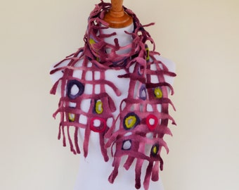 Merino wool wet- felted scarf