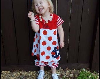 Nautical short set! toddler girls back to school red and white summer shorts set with nautical applique,Ready to ship