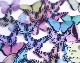 """20 Edible butterflies, assorted pastel colors wafer paper, 2"""" wide, for cake decorating, baby showers, unique wedding cake toppers"""