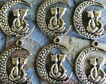 Set of 6 Antique Silver Moon and Cat Charms/Pendants