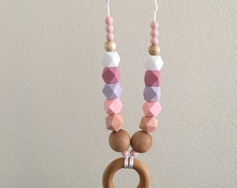 Statement Teething Necklace - Free Shipping - Gift for Mom - Silicone and Wood - New Baby - Baby Shower Gift