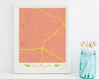 Los Angeles Art Los Angeles Map Los Angeles Print Los Angeles Poster Los Angeles Printable Digital Los Angeles Printable City Map art