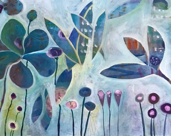 "Garden Fantasy 24"" x 48"" Large Original Painting"