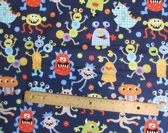 Navy Blue Monster Mash Toss Cotton Fabric by the Yard
