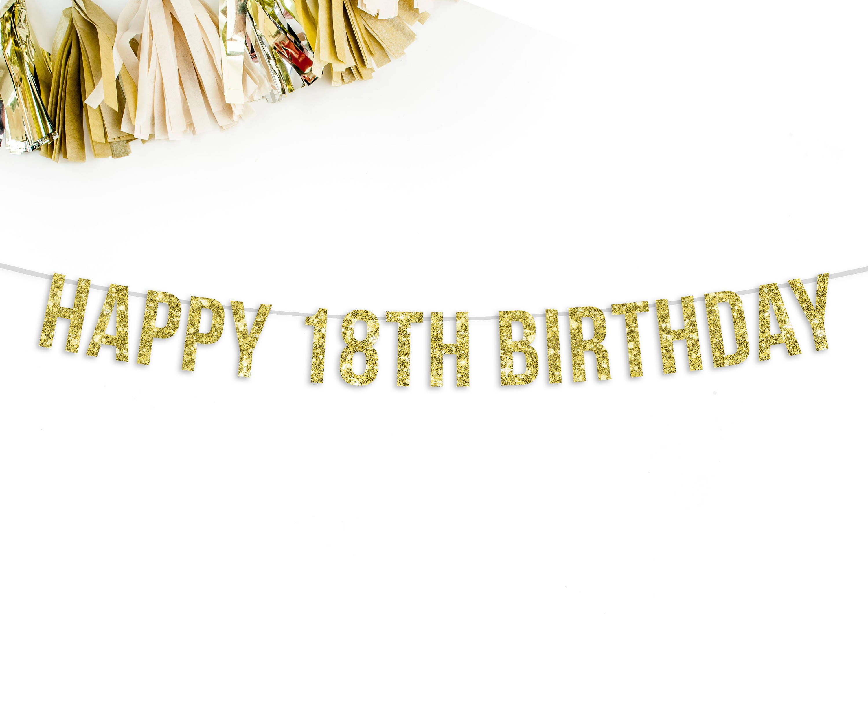 Happy 18th Birthday Banner 18th Birthday Party Decorations