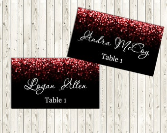 Red and Black Wedding Place Card, Place Cards, DIY Place Card Printable, code-037