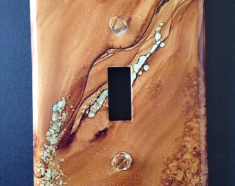Southwest Desert Sandstone & Delicate Turquoise Switch Plate - Hand Painted - Wall Decor