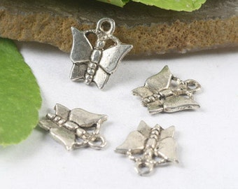 10  Butterfly Charm Antique Silver Tone 14 x 12 mm -    ts296