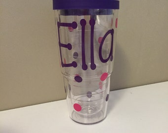 Personalized 24 oz. Tervis Tumbler with Polka Dots