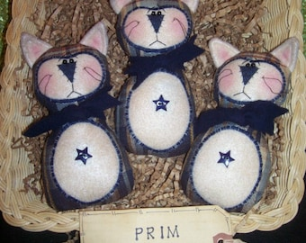 Primitive Whimsical Country Triplet Plaid CATS KITTIES Dolls Tucks Bowl Fillers Ornies