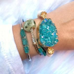 Aquamarine Jewelry, Aquamarine Bracelet, March Birthstone, Aquamarine Gemstone Jewelry, Birthstone Jewelry for March, Raw Aquamarine Jewelry