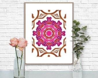 Bali 2 Digital Print • Kaleidoscope Mandala Bright Island Pattern • Instant Download • Home Decor Wall Art • Printable Poster Artwork