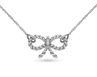 """14k solid white gold bow necklace. fancy necklace on an 18"""" solid white gold chain."""