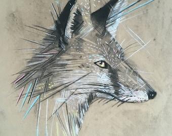 Mr Fox - Giclee print of a charcoal drawing A4 size -Art -print -wall art