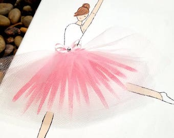 Hand Painted Ballerina Canvas with Tulle Skirt