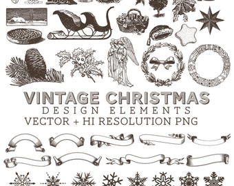 Retro Vintage Christmas Illustrations Clipart Clip Art PNG & Vector EPS, AI Design Elements Digital Instant Download