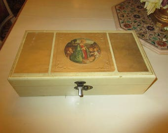 VINTAGE JEWELRY BOX with Mary Jesus and Angels