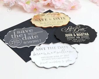 "Engraved Regal Style Acrylic Wedding ""Save The Date"""