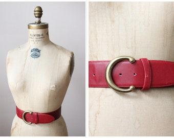 1980s Belt // Red Leather COACH Belt // vintage 80s belt