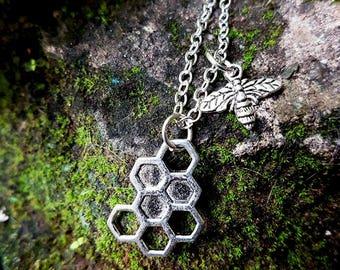 Honeycomb 'Sticky' Bee charm necklace