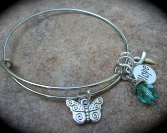 Ovarian Cancer Awareness bracelet adjustable wire bangle bracelet with Butterfly Teal dangle Hope and Ribbon charms